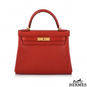 Hermès Kelly II Retourne 28cm Rouge Casaque Handbag